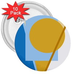 Blue and yellow abstract design 3  Buttons (10 pack)
