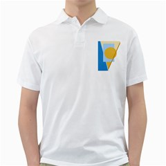 Blue and yellow abstract design Golf Shirts