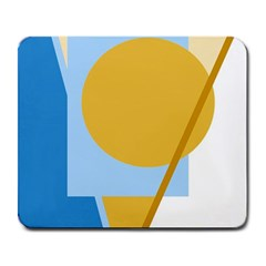 Blue and yellow abstract design Large Mousepads
