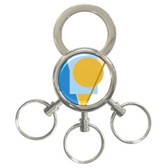 Blue and yellow abstract design 3-Ring Key Chains