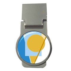 Blue and yellow abstract design Money Clips (Round)