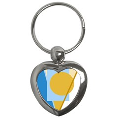 Blue and yellow abstract design Key Chains (Heart)