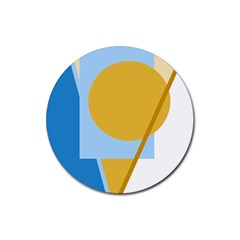 Blue and yellow abstract design Rubber Coaster (Round)