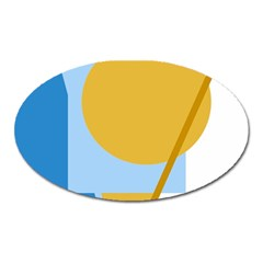 Blue and yellow abstract design Oval Magnet