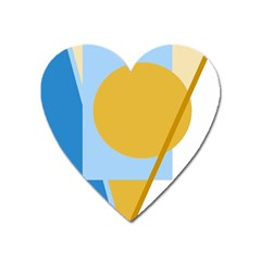 Blue and yellow abstract design Heart Magnet