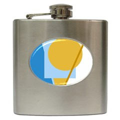 Blue and yellow abstract design Hip Flask (6 oz)