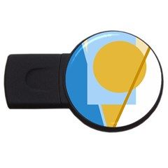 Blue and yellow abstract design USB Flash Drive Round (1 GB)