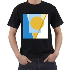 Blue and yellow abstract design Men s T-Shirt (Black) (Two Sided)