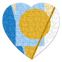 Blue and yellow abstract design Jigsaw Puzzle (Heart)