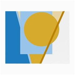 Blue and yellow abstract design Small Glasses Cloth