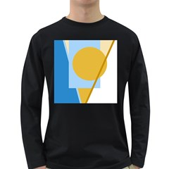 Blue and yellow abstract design Long Sleeve Dark T-Shirts