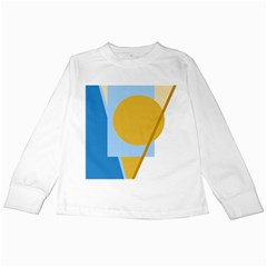 Blue and yellow abstract design Kids Long Sleeve T-Shirts