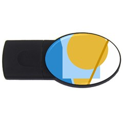 Blue and yellow abstract design USB Flash Drive Oval (4 GB)