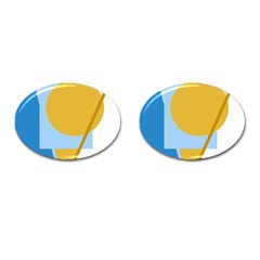 Blue and yellow abstract design Cufflinks (Oval)