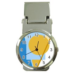 Blue and yellow abstract design Money Clip Watches