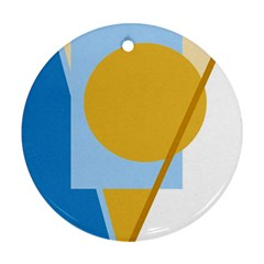 Blue and yellow abstract design Round Ornament (Two Sides)