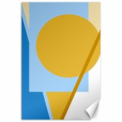 Blue and yellow abstract design Canvas 24  x 36