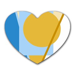 Blue and yellow abstract design Heart Mousepads