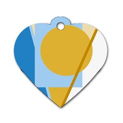 Blue and yellow abstract design Dog Tag Heart (One Side)