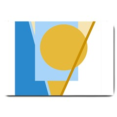 Blue and yellow abstract design Large Doormat