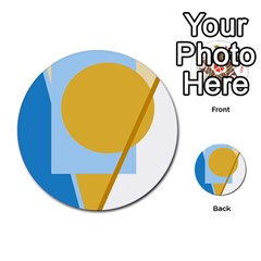 Blue and yellow abstract design Multi-purpose Cards (Round)