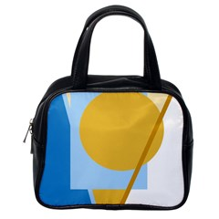 Blue and yellow abstract design Classic Handbags (One Side)