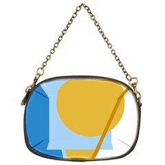 Blue and yellow abstract design Chain Purses (One Side)