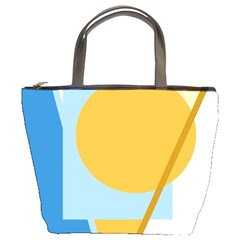 Blue and yellow abstract design Bucket Bags