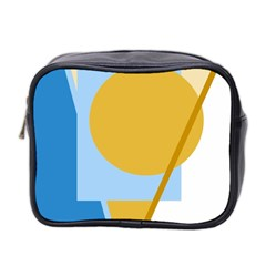 Blue and yellow abstract design Mini Toiletries Bag 2-Side