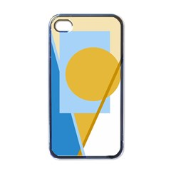 Blue and yellow abstract design Apple iPhone 4 Case (Black)
