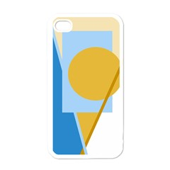 Blue and yellow abstract design Apple iPhone 4 Case (White)