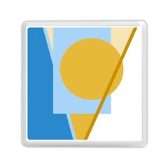 Blue and yellow abstract design Memory Card Reader (Square)