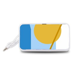 Blue and yellow abstract design Portable Speaker (White)