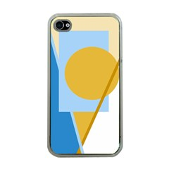 Blue and yellow abstract design Apple iPhone 4 Case (Clear)
