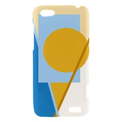 Blue and yellow abstract design HTC One V Hardshell Case