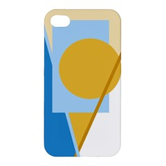 Blue and yellow abstract design Apple iPhone 4/4S Premium Hardshell Case