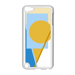 Blue and yellow abstract design Apple iPod Touch 5 Case (White)