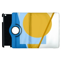 Blue and yellow abstract design Apple iPad 2 Flip 360 Case