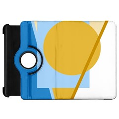 Blue and yellow abstract design Kindle Fire HD Flip 360 Case