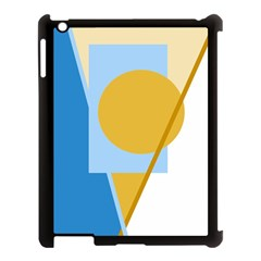 Blue and yellow abstract design Apple iPad 3/4 Case (Black)