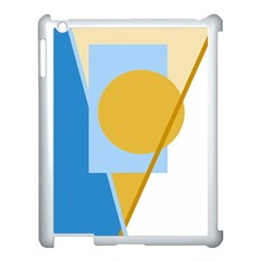 Blue and yellow abstract design Apple iPad 3/4 Case (White)