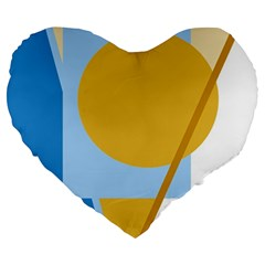 Blue and yellow abstract design Large 19  Premium Heart Shape Cushions