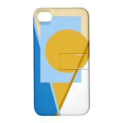 Blue And Yellow Abstract Design Apple Iphone 4/4s Hardshell Case With Stand