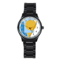 Blue and yellow abstract design Stainless Steel Round Watch