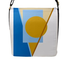 Blue and yellow abstract design Flap Messenger Bag (L)