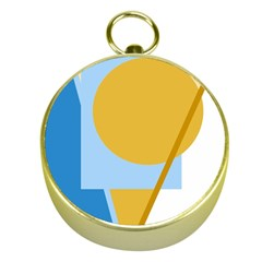 Blue and yellow abstract design Gold Compasses