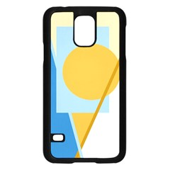 Blue and yellow abstract design Samsung Galaxy S5 Case (Black)