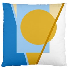 Blue and yellow abstract design Large Flano Cushion Case (Two Sides)