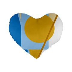 Blue and yellow abstract design Standard 16  Premium Flano Heart Shape Cushions