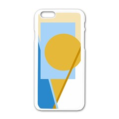 Blue and yellow abstract design Apple iPhone 6/6S White Enamel Case